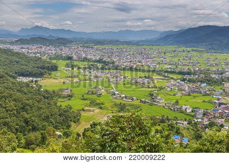 View From The Peace Pagoda Viewpoint On The Pokhara Town.