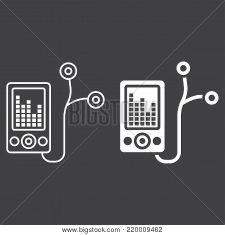 Mp player device line and glyph icon, fitness and audio, music sign vector graphics, a linear pattern on a black background, eps 10.