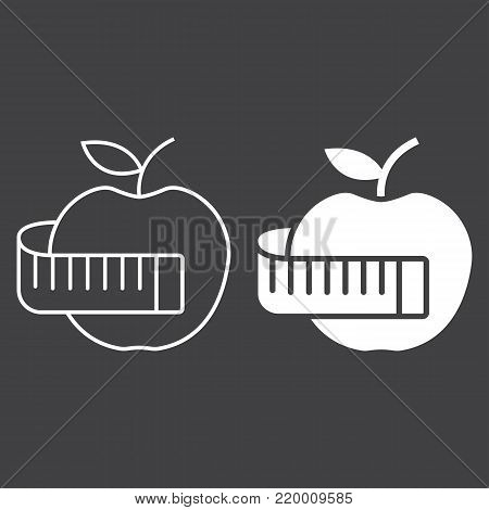 Apple with measuring tape line and glyph icon, fitness and sport, diet sign vector graphics, a linear pattern on a black background, eps 10.