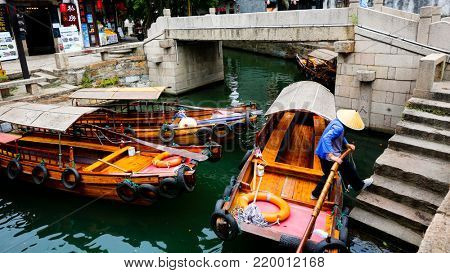 SUZHOU CHINA, 31 August 2017: Scene from the water town of Tongli near Suzhuo China