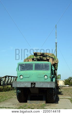 Transporter and loader to launch mine SS-18 Satan.Museum of Soviet Strategic Nuclear Forces.POBUGSKOE, UKRAINE - September 2, 2017