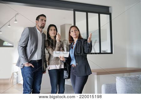 Couple with real-estate agent visiting modern house