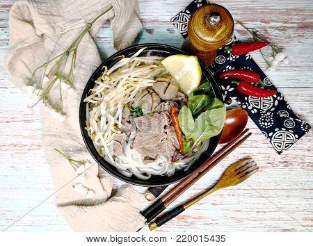Tasty Vietnamese food  Bo bun rice vermicelli