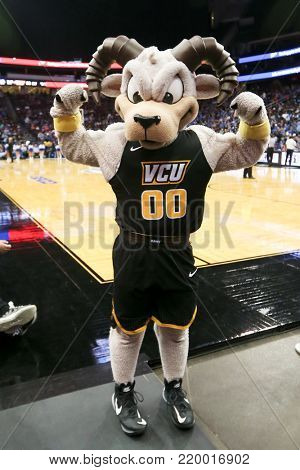 NEWARK, NJ - DEC 9: Virginia Commonwealth Rams mascot during the game against the Seton Hall Pirates on December 9, 2017 at the Prudential Center on  Newark, New Jersey.