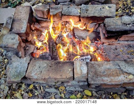hearth of stones in the nature for a barbecue