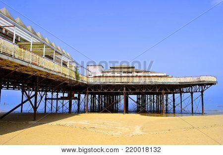 Colwyn Bay, North Wales, UK - July 12, 2013 : Colwyn Bay pier in North Wales