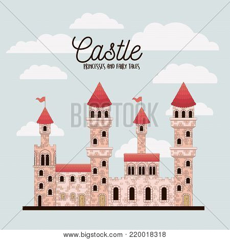 poster of pink castle princesses and fairy tales with castle and colorful sky background vector illustration