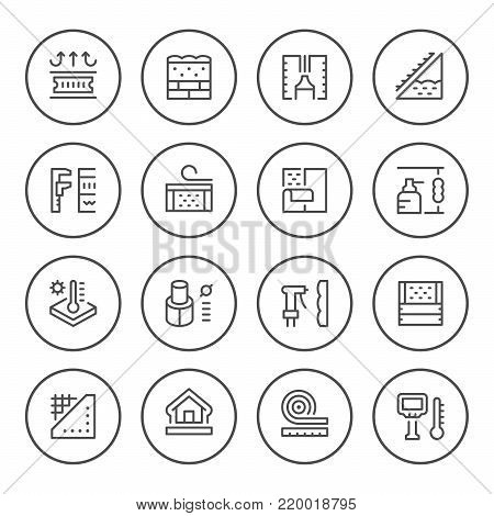Set round line icons of insulation isolated on white. Vector illustration