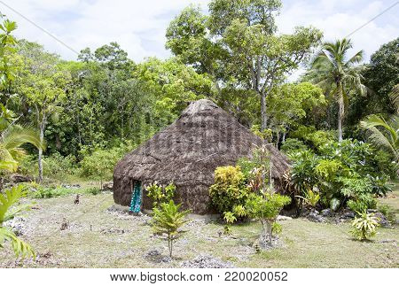 The traditional straw hut in Easo village on Lifou island (New Caledonia).