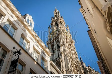 ANTWERP, BELGIUM. July 18, 2017. Cathedral of Our Lady in Antwerp (Dutch: Onze-Lieve-Vrouwekathedraal)