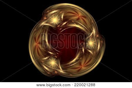 abstract golden ornament in the form of three drops intersecting on a background of a dark red star on a black background.