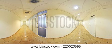 Spherical 360 degrees panorama projection, panorama in interior empty long corridor with doors and entrances to different rooms