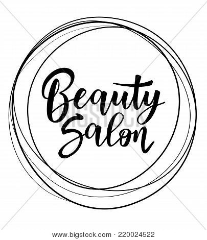 Vector illustration of 'Beauty salon' lettering. Logo template for hair or beauty salon.