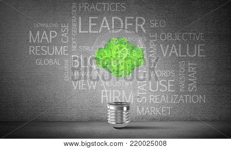 Glass lightbulb with clouds from gears inside with business related terms on dark grey wall on background. 3D rendering.