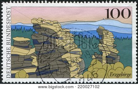 GERMANY - CIRCA 1994: A stamp printed in the Germany, shows the Ore Mountains, circa 1994