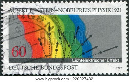 GERMANY - CIRCA 1979: A stamp printed in the Germany, dedicated to the Diagram of Einstein's Photoelectric Effect, circa 1979