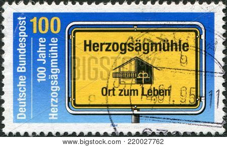 GERMANY - CIRCA 1994: A stamp printed in the Germany, dedicated to the anniversary of the Social Welfare Organization, shows Herzogsagmuhle, circa 1994