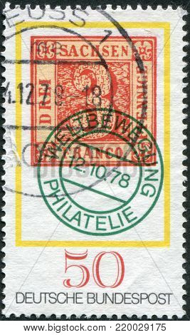 GERMANY - CIRCA 1978: A stamp printed in the Germany, dedicated to the Stamp Day and German Philatelists Meeting, Frankfurt am Main, shows a postage stamp Saxony