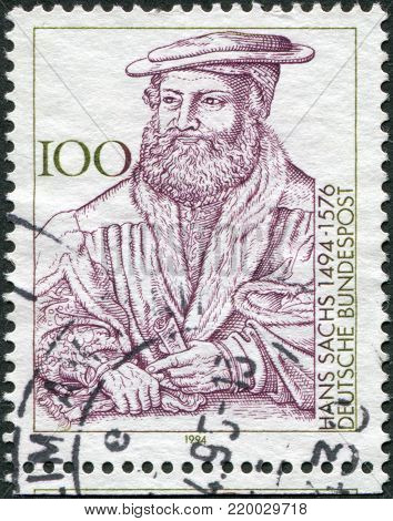 GERMANY - CIRCA 1994: A stamp printed in the Germany, dedicated to the 500th anniversary of the birth Hans Sachs, circa 1994