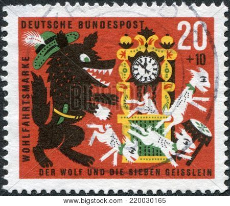GERMANY - CIRCA 1963: A stamp printed in the Germany, shows a scene from a fairy tale of the Brothers Grimm