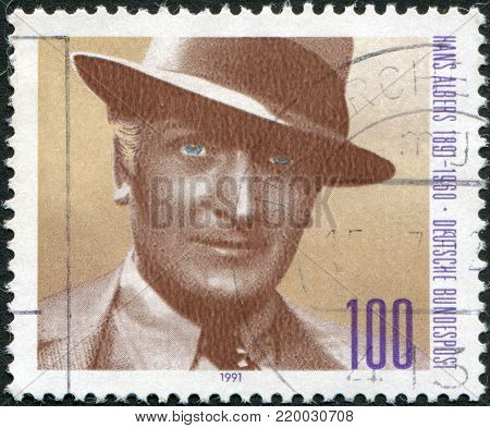 GERMANY - CIRCA 1991: A stamp printed in the Germany, shows Hans Philipp August Albers in the movie
