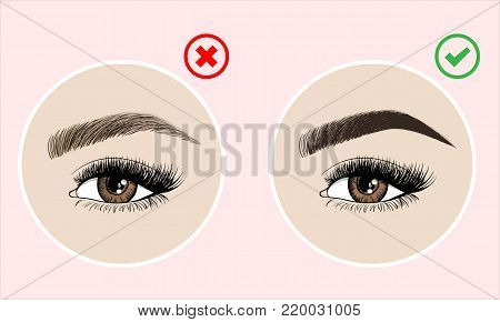 Makeup Eyebrows. Set Of Well-groomed And Shaggy Eyebrows. Before And After The Care. Beauty Open Eye