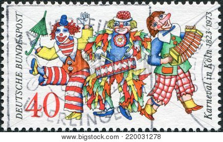 GERMANY - CIRCA 1972: A stamp printed in the Germany, dedicated to the 150th anniversary of the Cologne Carnival, circa 1972