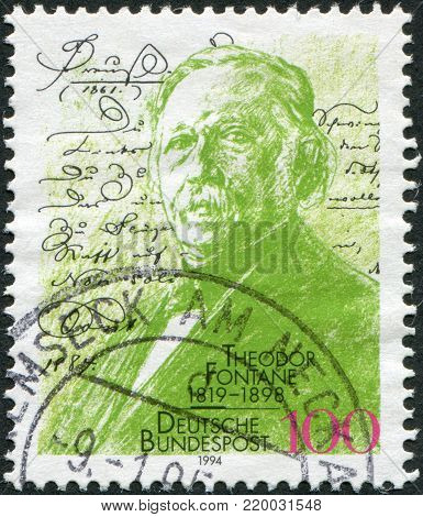 GERMANY - CIRCA 1994: A stamp printed in the Germany, dedicated to the 75th anniversary of the birth Theodore Fontane, drawing by Max Liebermann, circa 1994