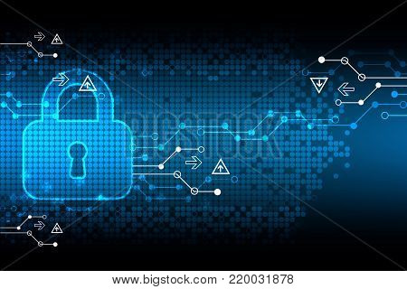 Protecting digital encoding. Padlock and decoding algorithm, script programming, safety and protect system, vector illustration