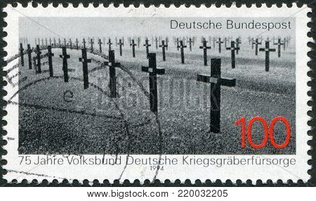 GERMANY - CIRCA 1994: A stamp printed in Germany, is dedicated to the 75th anniversary of the National Association for Preservation of German Graves Abroad, shows a soldier's graveyard, circa 1994