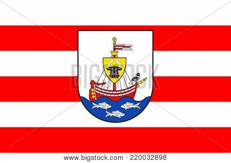 Flag of Wismar is a port and Hanseatic city in Northern Germany. Vector illustration