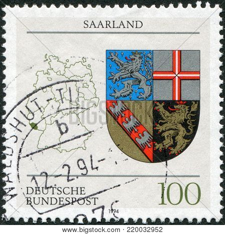 GERMANY - CIRCA 1994: A stamp printed in Germany, is devoted to federal land Saarland, circa 1994