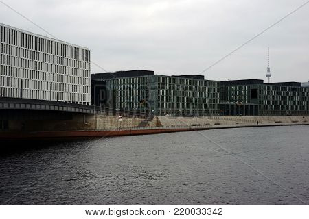 The view over the river Spree at the Hugo-Preuss bridge in the government district in Berlin.