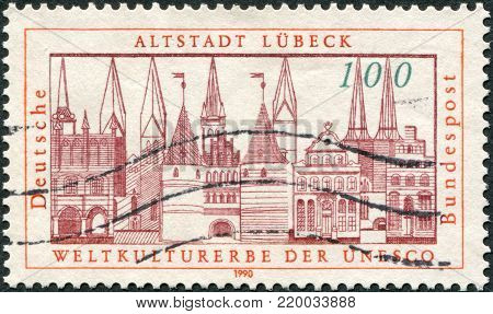 GERMANY - CIRCA 1990: A stamp printed in Germany, is dedicated Addition of Lubeck to the UNESCO World Heritage List, circa 1990