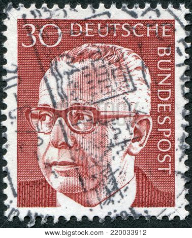 GERMANY - CIRCA 1971: A stamp printed in the Germany, shows the president of Germany Gustav Walter Heinemann, circa 1971