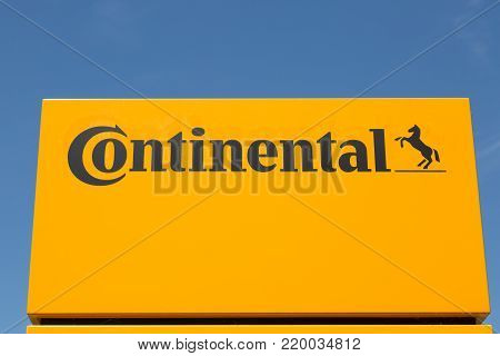 WETZLAR, HESSEN, GERMANY - June 2017 : CONTINENTAL Logo on a administration building in WETZLAR.  CONTINENTAL is one of the world's leading manufacturers for commercial vehicle tires, based in Hannover, Niedersachsen, Germany.