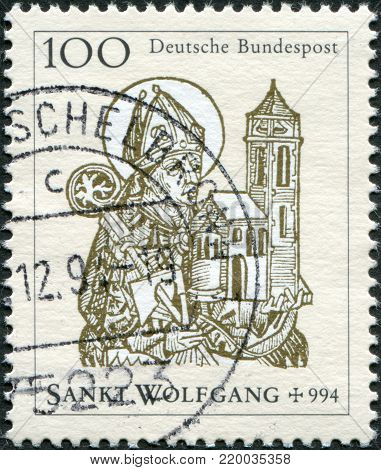 GERMANY - CIRCA 1994: A stamp printed in Germany, shows St. Wolfgang (924-94), Bishop of Regensburg, circa 1994