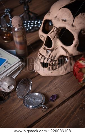 Mystic Still Life With Skull, Tarot Cards, Books And Candles