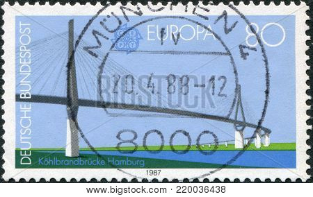 GERMANY - CIRCA 1987: A stamp printed in Germany, is shown Kohlbrand Bridge, 1974, Hamburg, designed by Thyssen Engineering, circa 1987