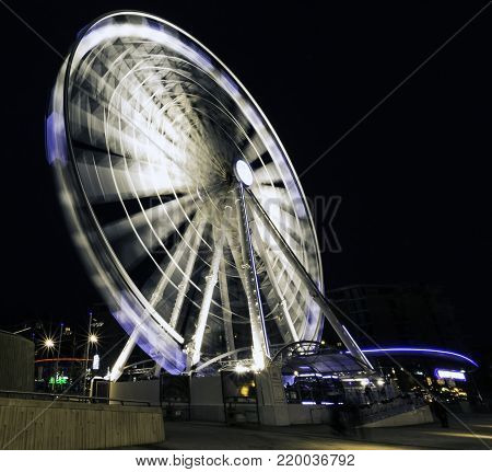 KEEL WHARF WATERFRONT, LIVERPOOL, UK - DECEMBER 26: Picture of The Echo Wheel of Liverpool by night on December 26th, 2017 in Liverpool