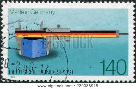 GERMANY - CIRCA 1988: A stamp printed in Germany, shows the Vernier Scale as a Symbol of Precision and Quality, circa 1988
