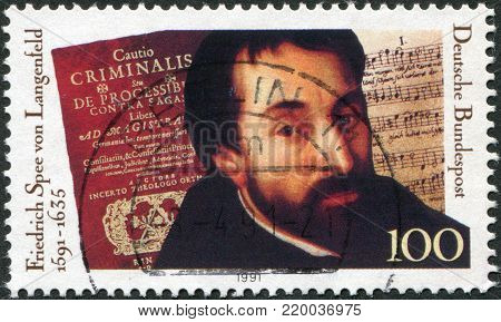 GERMANY - CIRCA 1991: A stamp printed in Germany, is dedicated to the 100th anniversary of the birth Friedrich Spee von Langenfeld, circa 1991
