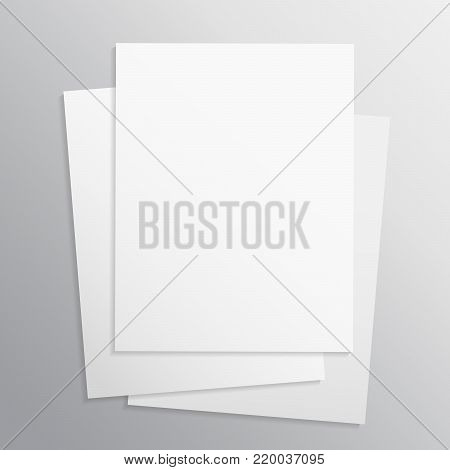 Stack of papers, grouped and layered, easy to edit and move. White sheet of paper. Realistic empty paper note template of A4 format with soft shadows isolated on grey background