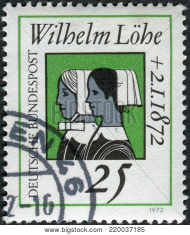GERMANY - CIRCA 1972: A stamp printed in Germany, is dedicated to Wilhelm Lohe, founder of the Deaconesses Training Institute at Neuendettelsau shown Deaconesses, circa 1972