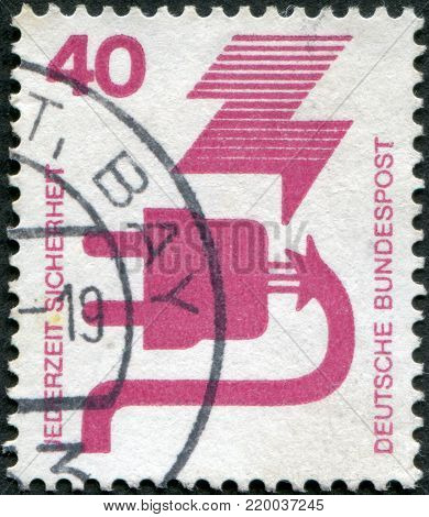GERMANY - CIRCA 1972: A stamp printed in Germany, is dedicated to Accident prevention, shows a Defective plug, circa 1972