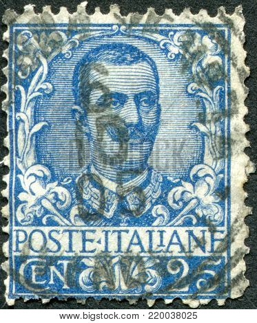 ITALY - CIRCA 1901: A stamp printed in Italy, shows the King of Italy Victor Emmanuel III, circa 1901