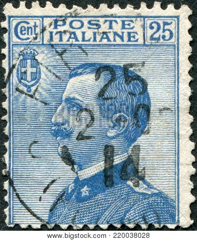 ITALY - CIRCA 1908: A stamp printed in Italy, shows the King of Italy Victor Emmanuel III, circa 1908