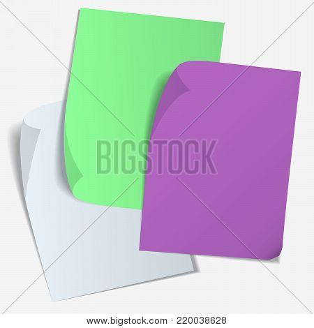 Set of color blank sheet of paper with curved corner and with shadow on transparent background. Page curl with shadow on blank sheet of paper. Empty paper banners on white background with soft shadows