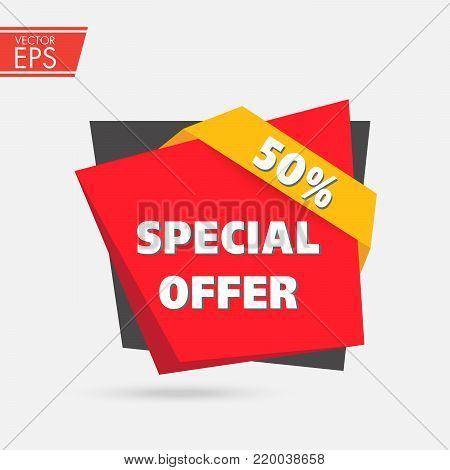 50% OFF Sale Discount label. Discount offer price tag. Special offer sale red label. Vector Modern Sticker Illustration. Special Offer, Big Offer & Best Price Mark.