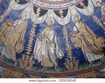 RAVENNA, ITALY - JUNE 15, 2017: Ceiling mosaics in Baptistery of Neon, the most ancient monument remaining in the city. Early Christian Monuments of Ravenna is listed as UNESCO World Heritage